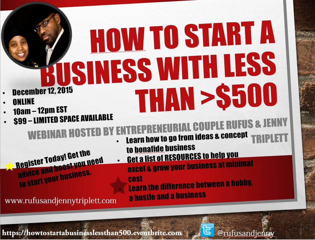 How to start a business with less than $500 on RufusandJennyTriplett.com